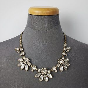 J. Crew Gold Cut Glass Statement Necklace
